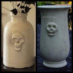 DIY Polymer Clay Pottery Barn Ceramic Skull Vase Knockoff Tutorial from 13 Black Cats Designs here.Left Photo:$109 per vase Pottery Barn Ceramic Skull Vasehere(NA),Right Photo:DIY by 13 Black Cats Designs.