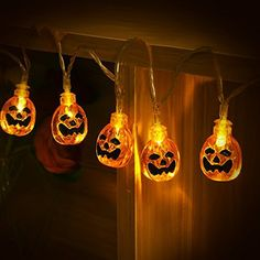 Halloween String Lights, YUNLIGHTS Jack-O-Lantern Pumpkin Lights with Remote Control, 8 Modes Battery Operated Outdoor Halloween Lights, Warm White Halloween Party Themes, Halloween Snacks, Halloween Cupcakes, Spirit Halloween, Diy Halloween, Halloween Decorations, Halloween Countdown, Halloween Halloween, Light Decorations