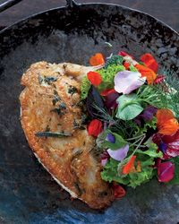 Chicken with Mesclun Salad and Passion Fruit Vinaigrette Recipe from Food & Wine