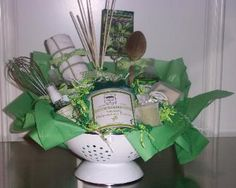 green herbs gift basket for the cook