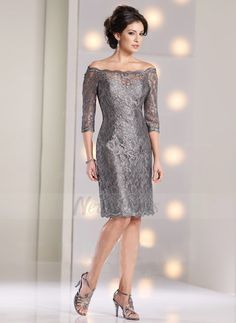 Sheath/Column Off-the-Shoulder Knee-Length Lace Zipper Up at Side Sleeves 3/4 Sleeves 2015 Other Colors Spring Summer Fall Winter General Mother of the Bride Dress