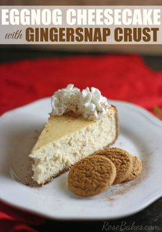 Eggnog Cheesecake with Gingersnap Crust. This Eggnog Cheesecake with Gingersnap Crust is so creamy and delicious! It's perfect topped with Reddi-wip® and … The Best Eggnog Cheesecake Recipe with Gingersnap Crust Brownie Desserts, Mini Desserts, Christmas Desserts, Christmas Baking, Just Desserts, Christmas Cheesecake, Plated Desserts, Elegant Desserts, Holiday Baking