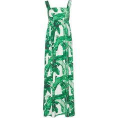 Dolce & Gabbana Palm Leaf Maxi Dress ($2,575) ❤ liked on Polyvore featuring dresses, maxi dress, green silk dress, green maxi dress, silk camisole, cami maxi dress and strappy maxi dress