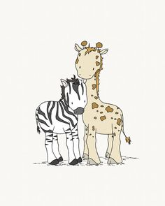 TribalNursery Art -- Safari Friends -- Giraffe and Zebra -- Safari Nursery Art -- Tribal Nursery -- Children Art Print -- Kids Wall Art