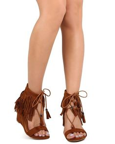 Nature Breeze EB07 Women Suede Fringe Open Toe Gilly Tie Low Wedge Sandal - Tan >>> Unbelievable  item right here! : Lace up sandals
