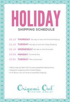 Holiday Shipping Guide. Make sure you get the goodies in time!  Steph.origamiowl.com