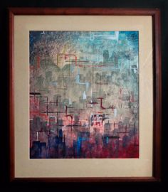 SIGNED RENRA '63 MODERNIST ABSTRACT MIXED-MEDIA ON PAPER ORIG FRAME MID-CENT MOD #Abstract
