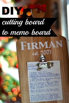 Make a super simple memo board from a clearance cutting board. This makes a lovely gift for any holiday and it equally as precious holding photos.