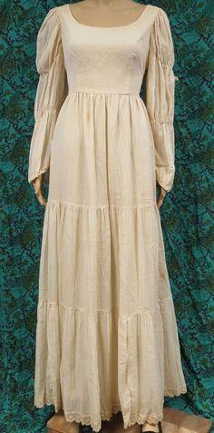 595c9d02c0 Vintage 70s Maxi Dress Cotton Gauze Tier Lace Peasant Prairie Wedding Bride  Boho