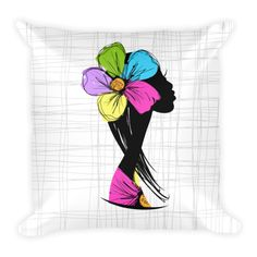 Girl With A Flower - Double Sided Throw Pillow -  Get this double Sided Print Pillow Now! Specs: DOUBLE SIDED PRINT! - Get Two Pillows in One for the SAME PRICE! Individually Handmade in California Velvety soft, comfy and cushiony texture Filled with a nice puffy stuffing Durable Pillow case is machine washable Concealed Zipper Pillow insert included (handwash only) Resilient polyester filling retains shape #heart #art #pets #pillow #pillows #homedecor #gift #cute #DogzPrinted #girl