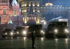 Nighttime Rehearsal Of 2015 WWII Victory Day Parade Wows Muscovites | A column of military hardware during the rehearsal of the Victory Day Parade on Moscow's Red Square