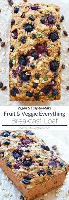 Fruit & Veggie Everything Breakfast Loaf | Vegan + Easy-to-make recipe | This breakfast loaf is hearty, crispy on the top, soft on the inside and full of flavor. It's perfect for #breakfast but I've been enjoying it most as a 4 pm energy snack. I recommend toasting a slice and spreading coconut or vegan butter on top…mm! Enjoy! |The Colorful Kitchen #vegan #plantbased #vegetarian #veganrecipe #veganbread #veganbreakfast