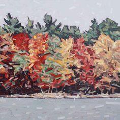 "David Grieve, Autumn Shore, 42"" x 42"", oil on canvas"