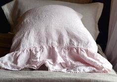 Pair of Dusty pink pure linen pillow shams by HouseOfBalticLinen