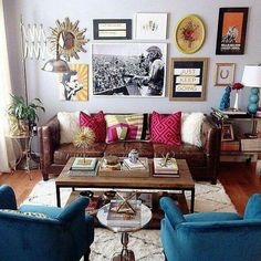 yummy leather sofa and rich blue chairs