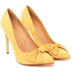 Nasty Gal Search High and Bow Heel ($21) ❤ liked on Polyvore featuring shoes, pumps, heels, yellow, bow pumps, stiletto heel pumps, heels stilettos, almond toe pumps and nasty gal shoes