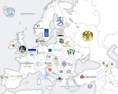 Logos of Central Banks in European Countries