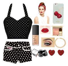 """Pin-up"" by pandicornio033 on Polyvore featuring moda, Lipstik, Kate Spade, NARS Cosmetics, NYX, Clarins, Tarina Tarantino y Alessandra Rich"