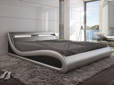 Estructura de cama 160x200 cm piel sintetica plateada con LEDs ZALARIS