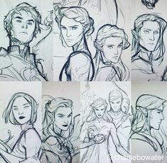 Azriel, Nesta, Elain, Cassian, Amren, Mor, Feyre and Rhysand, Lucien