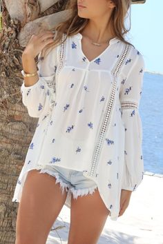 Boca Chica White Ditsy Floral Woven Top