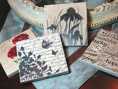 Tile coasters stamped with Staz-On inks and backed with cork.