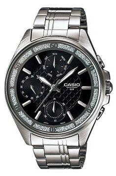 Casio LTP2086D-1AV Women's Lamé-Sprinkled Bezel Multi-Function Black Dial Watch #Casio #Dress