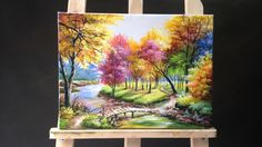 Painting a Autumn Forest Lanscape with Acrylics 1:52:07 basic skills review
