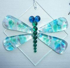 Dragonfly Fused Glass Suncatcher