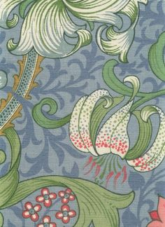 Golden Lily Linen Union Fabric Classic William Morris floral printed linen ona blue background