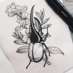 hercules beetle, new & ready to tattoo  #tattoodesign #drawing #illustration #sketch #dotworktattoo #dotwork #stippling #nature #beetle #herculesbeetle #wildlife #plant #flower #wannado #themagicsociety #stuttgart #karlsruhe #pforzheim (hier: The...