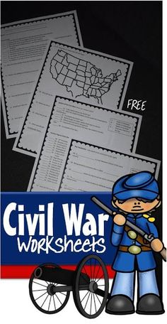 FREE Civil War Worksheets for Kids - Help kids rev Homeschool Worksheets, Social Studies Worksheets, 4th Grade Social Studies, Free Worksheets, Curriculum, American History Lessons, History For Kids, Middle Ages History, Teaching American History