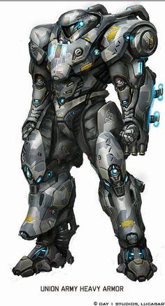 Armadura pesada de combate, possuindo duas armas: Blaster na mão esquerda e uma espada a lazer na esquerda!