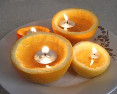 Clementine candles.  So simple...just clementine halves, a floating wick, and olive oil.