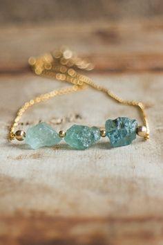 Three Wishes Aquamarine Necklace March Birthstone by AbizaJewelry