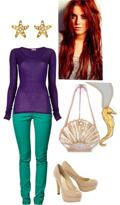 Another Ariel themed outfit...I'm dying my hair red soon, and I'm going to wear this one day. I have that shirt, so all I need is that color skinnies.