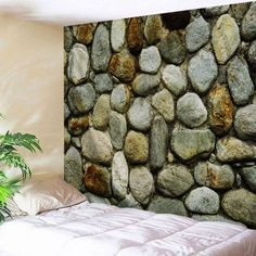 Stone Wall Print Bedroom Decorative Tapestry