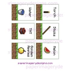 Minecraft Party Food Labels Printable