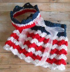 Newborn Clothes - Newborn 4th of July Set  - Newborn Photo Prop - Crochet Skirt n' Crown  - FREE SHIPPING