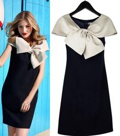 Morpheus Boutique  - Black White Bow Cap Sleeve Celebrity Dress