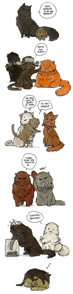 The Dwarves as cats! And Bilbo is a guinea pig! And I love Fili and Kili at the end :)