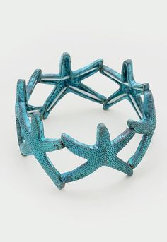 """1.25"""" wide silver textured starfish stretch sea life bracelet nautical Starfish Ring, Stretches, Nautical, Sea, Texture, Bracelets, Rings, Silver, Accessories"""