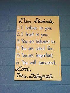 This is wonderful!  I wish my teachers had said this to me.
