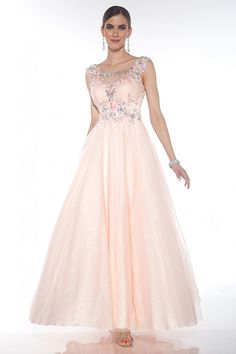 2015 Scoop A-Line Prom Gown With Beads And Applique Tulle