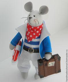 Купить Мышонок морячок - разноцветный, мышка, мышонок, морячок, тильда, тильда-мышонок, мыши