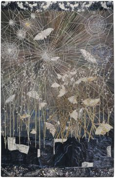 """thunderstruck9: """"Kiki Smith (American, b. 1954), Spinners (Moths & spiders webs), 2014. Cotton Jacquard tapestry with hand painting and gold leaf, 115 × 75 in. """""""