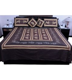 Little India 5 Piece Brown Jaipuri Silk Double Bed Cover