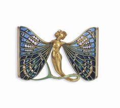 AN ART NOUVEAU ENAMEL, DIAMOND AND GOLD DOG COLLAR PLAQUE, BY RENE LALIQUE Designed as a winged sylph in full relief with legs metamorphising into an undulating chased gold and green enamel insect tail, with outstretched pale green enamelled gold veined wings, enhanced by shades of blue plique-à-jour enamel and old mine-cut diamonds, circa 1900 Signed Lalique for René Lalique