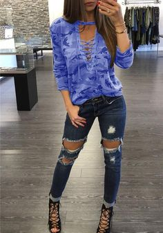 b74a8bf38cf55 DaysCloth Blue Camouflage Print Drawstring V-neck Long Sleeve Casual T-Shirt