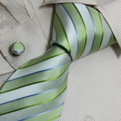 Green Striped Mens Ties Gifts Online Handmade Silk Neck Ties Cuff Links Set 8069